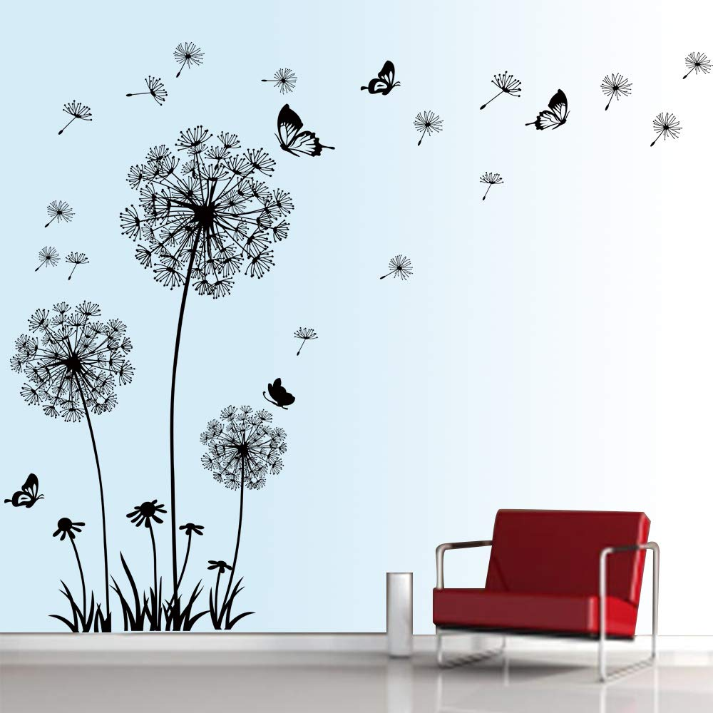 decalmile Dandelion Wall Decals Flying Flowers Butterflies Wall Stickers Dandelion Wall Art Living Room Bedroom Decor (Black)