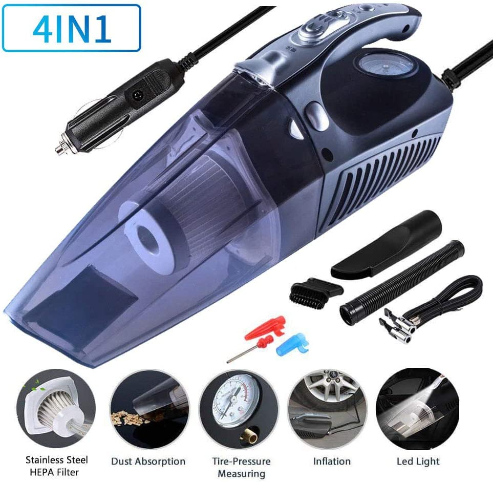 Car Vacuum Cleaner, 4 in 1 Multifunctional High Power 12V 120W Air Compressor Tire inflator Portable Car Vacuum Cleaner, Lightweight Wet Dry Vacuum for Home Pet Hair Car Cleaning