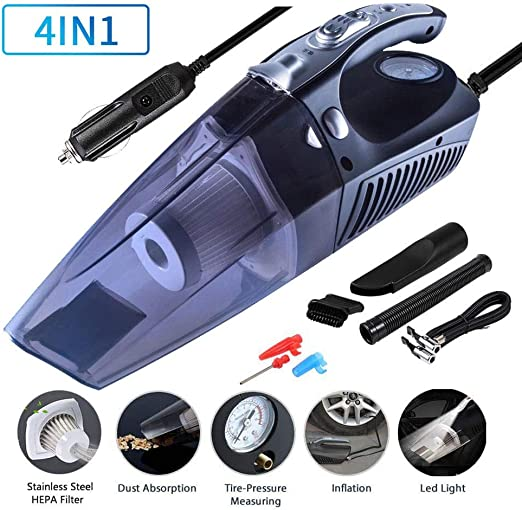 Car Vacuum Cleaner Lightweight Wet Dry Vacuum for Home Pet Hair Car Cleaning 4 in 1 Multifunctional High Power 12V 120W Air Compressor Tire inflator Portable Car Vacuum Cleaner