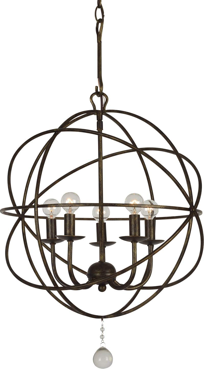 Crystorama 9224-EB Transitional Five Light Mini Chandelier from Solaris collection in Bronze Darkfinish, 17.00 inches