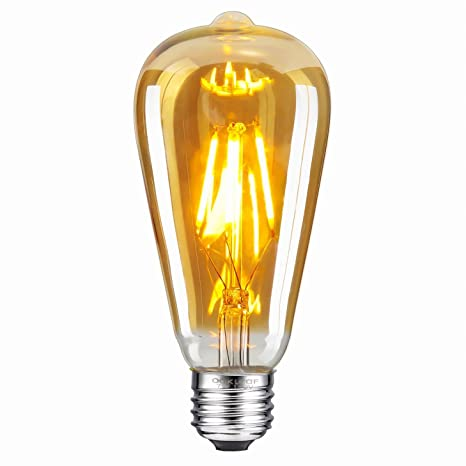 Bombilla LED vintage ST64 - Oak Leaf 4W 2200K ámbar cristal antiguo, rosca mediana base E27, ...