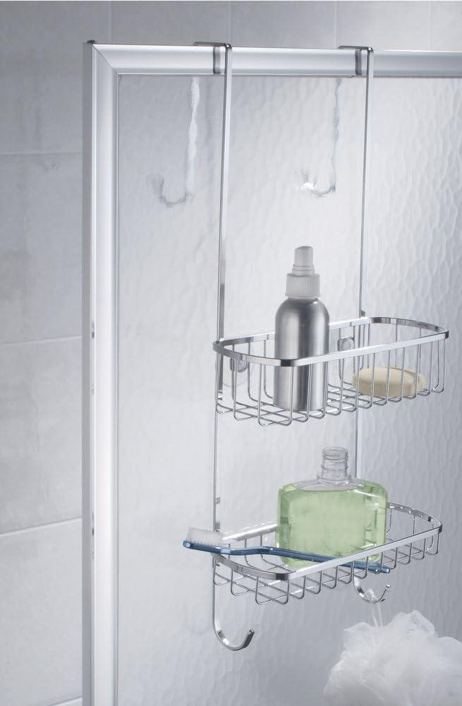 mDesign – Organizador de ducha para colgar sobre la mampara – Práctico estante para ducha de acero inoxidable pulido – Cesta de ducha sin taladro para tus productos de higiene personal: Amazon.es: Hogar