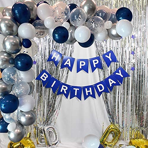 Blue Birthday Party Decorations, Happy Birthday Supplies, Happy Birthday Banner, Blue White Silver Confetti Balloons, Pom Pom Flower, Metallic Fringe Curtain for Boy Men