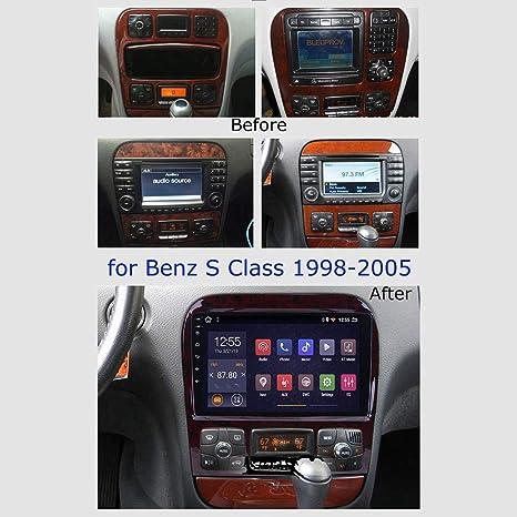 ZNSH GPS Voiture Auto,2 Autoradio Android 8.1 st/ér/éo Navi GPS 32G pour Mercedes Benz Classe S W220 S280 S320 S350 S400 S430 S500 S600 AMG 1998-2005 Lien Miroir