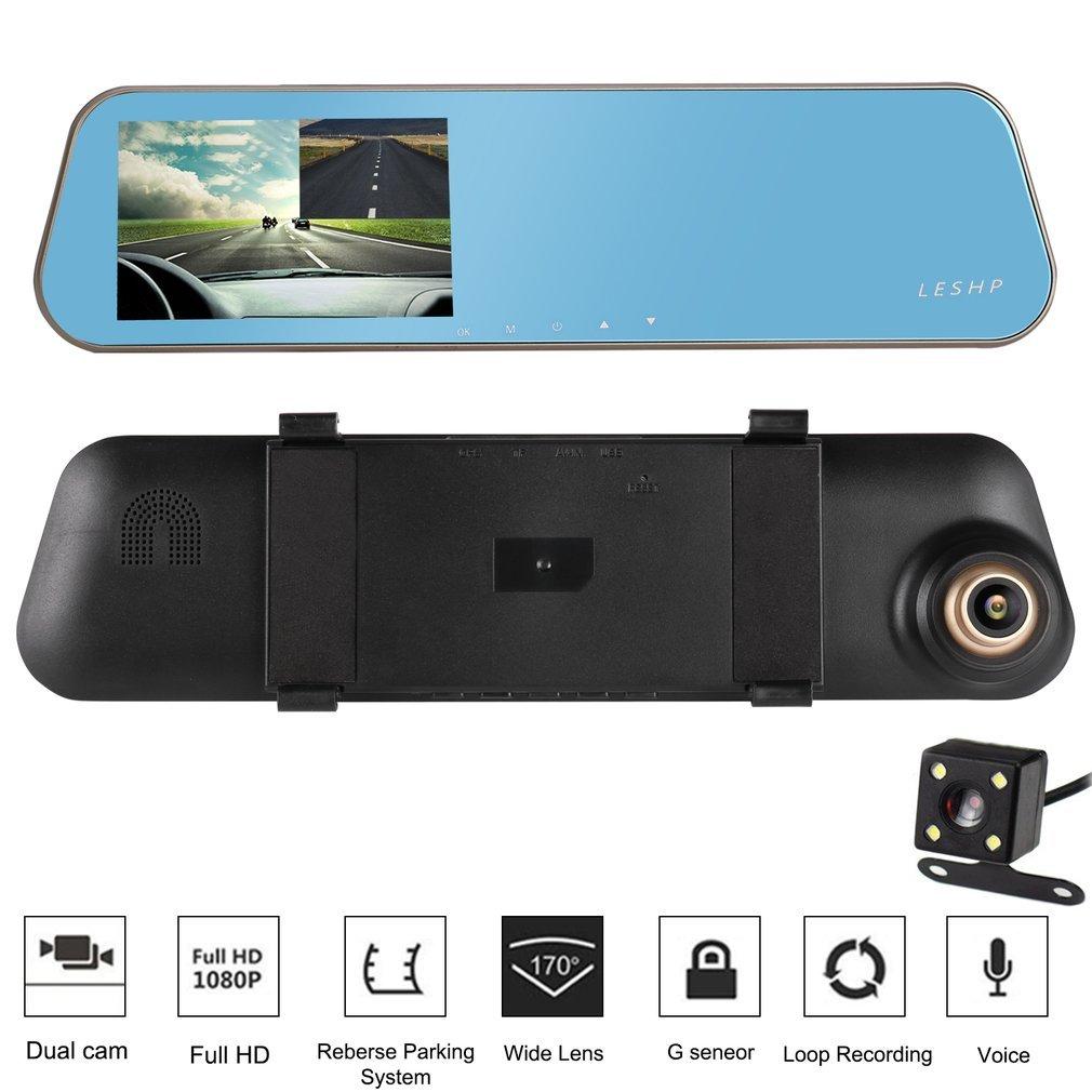 Caméra de Voiture DVR HD 1080p 32GB Enregistreur Vidéo de Voiture avec écran LCD 4, 3 Pouces et 170˚ Deux Lentilles de Caméra 3 Pouces et 170˚ Deux Lentilles de Caméra LESHP
