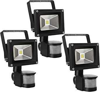 3X 10W Foco LED con Sensor Movimiento, Proyector LED Exterior de ...