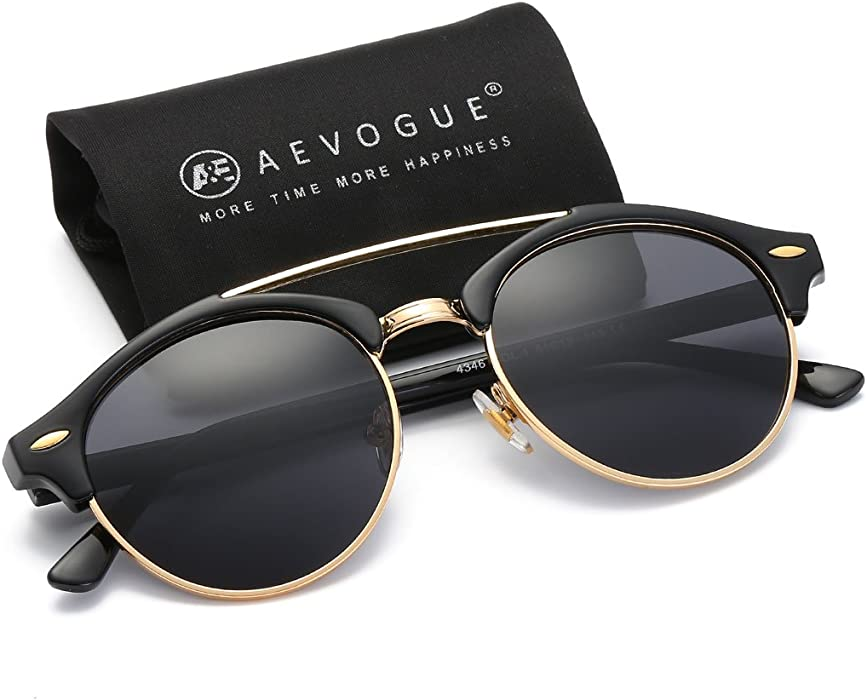 26b0b78821f AEVOGUE Polarized Sunglasses Mens Semi-Rimless Retro Unisex Glasses AE0504  (Black