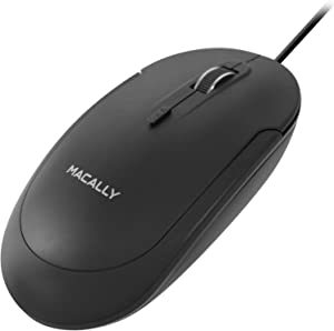 Macally Silent Wired Mouse - Slim & Compact USB Mouse for Apple Mac or Windows PC Laptop/Desktop - Designed with Optical Sensor & DPI Switch - Simple & Comfortable Wired Computer Mouse (Black)
