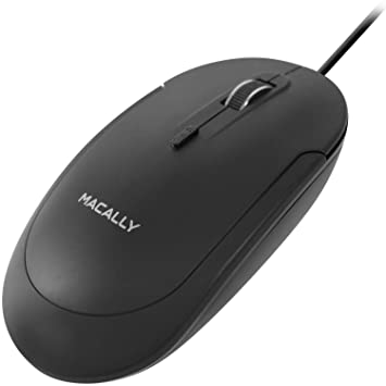 Macally Silent Usb Mouse Wired Apple Mac Windows Pc Laptop/Desktop Computer | Slim & Compact Mice Design Optical Sensor Dpi Switch 800/1200/1600/2400 | Small Easy Travel (Black) by Macally