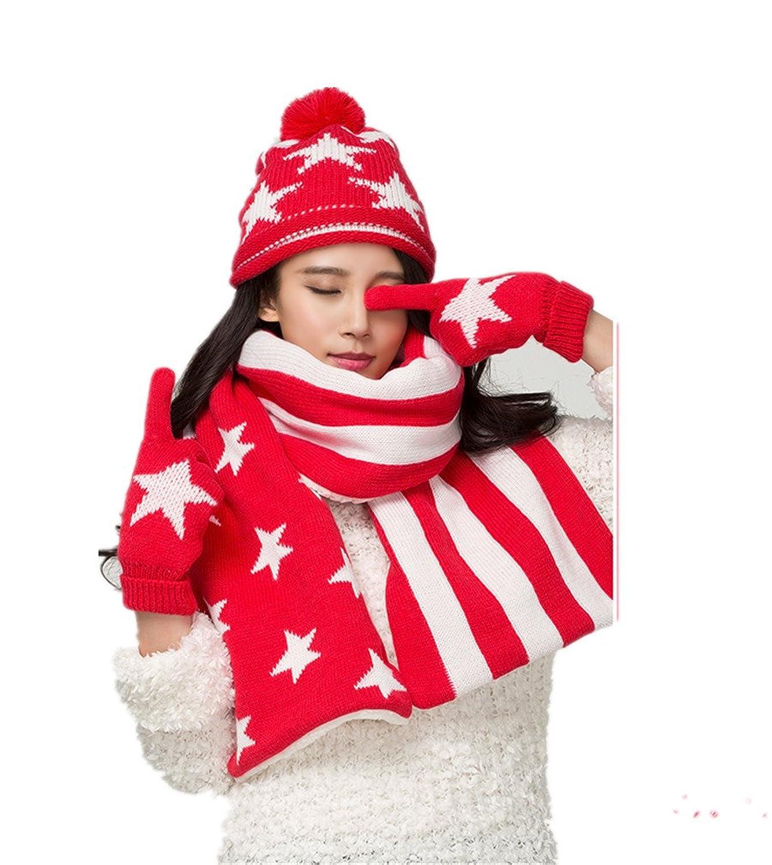 Frauen Winter Star flag Warme M¨¹tze / Schal / Handschuhe dreiteilige von Withered eingestellt