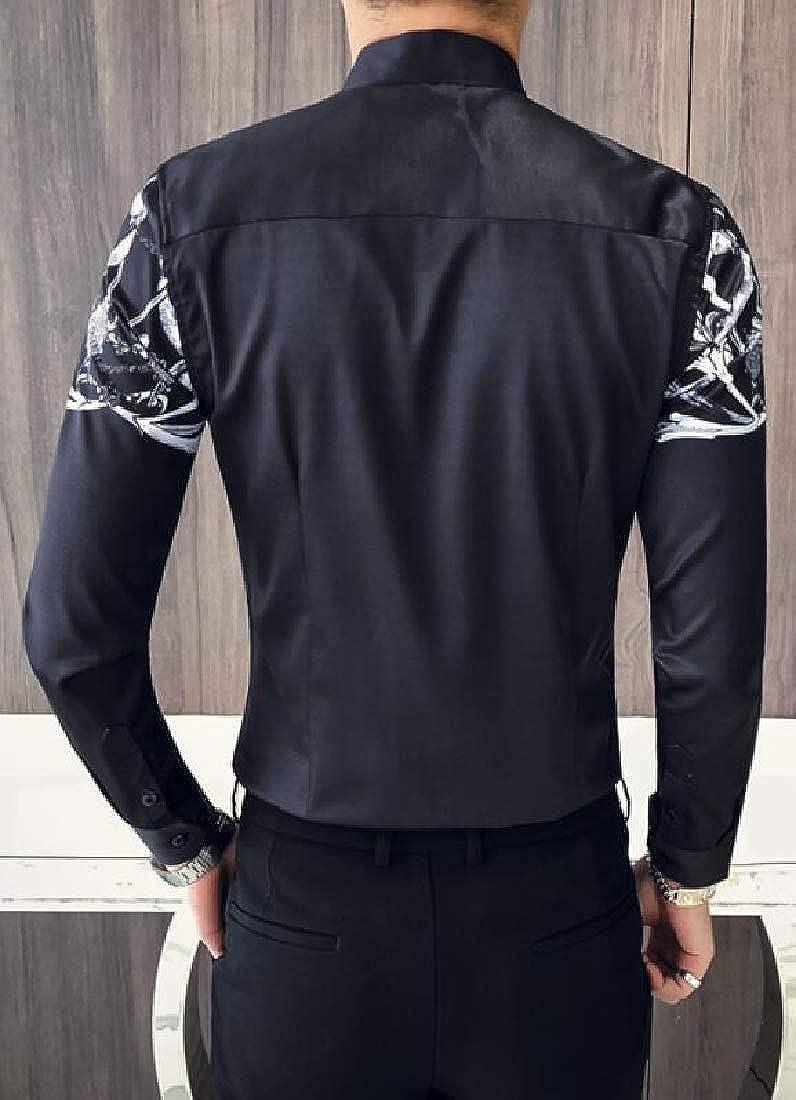 UUYUK Men Long Sleeve Retro Floral Lapel Collar Regular Fit Button Down Dress Work Shirt