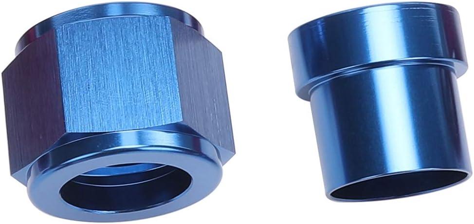Pack of 2 Aluminum Hardline Fitting Black 8 AN Female Tube Nut and Sleeve For 1//2 1//2 inch 12.7mm Tube Hose Line Fitting