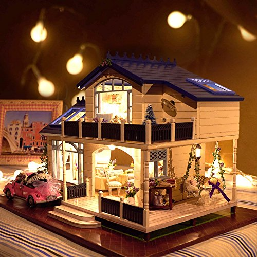 [OK59 happy family dollhouse DIY Handcraft Miniature Voice-activated LED Light&Music with Cover Provence Dollhouse Birthday] (Malibu Barbie Costume)