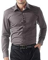 Paul Jones Men's Long Sleeve Shirts Button Front Cotton Slim Fit Plain Color S-XXL