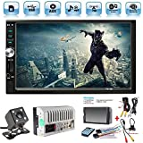Car Rear View Camera + Ewalite 7 inch Double Din Touchscreen In Dash Stereo Car Receiver Audio Video Player Bluetooth FM Radio Mp3 MP5 / TF / USB / AUX / Steering wheel controls + Remote Control