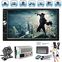 "Car Rear View Camera + Ewalite 7"" inch Double Din Touchscreen In Dash Stereo Car Receiver Audio Video Player Bluetooth FM Radio Mp3 MP5 / TF / USB / AUX / Steering wheel controls + Remote Control"
