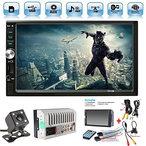 Car Rear View Camera + Ewalite 7″ inch Double Din Touchscreen In Dash Stereo Car Receiver Audio Video Player Bluetooth FM Radio Mp3 MP5 / TF / USB / AUX / Steering wheel controls + Remote Control