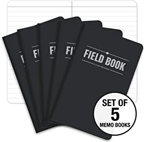 """Field Notebook/Pocket Journal - 3.5""""x5.5"""" - Black - Lined Memo Book - Pack of 5"""