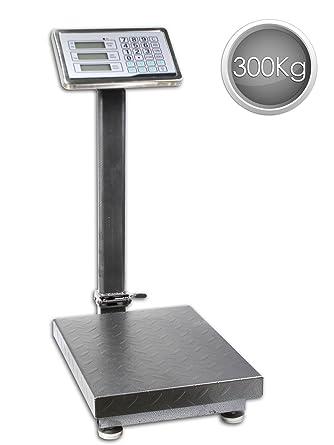 Vetrineinrete® - Balanza industrial de suelo con plataforma con pantalla digital retroiluminada, recargable.