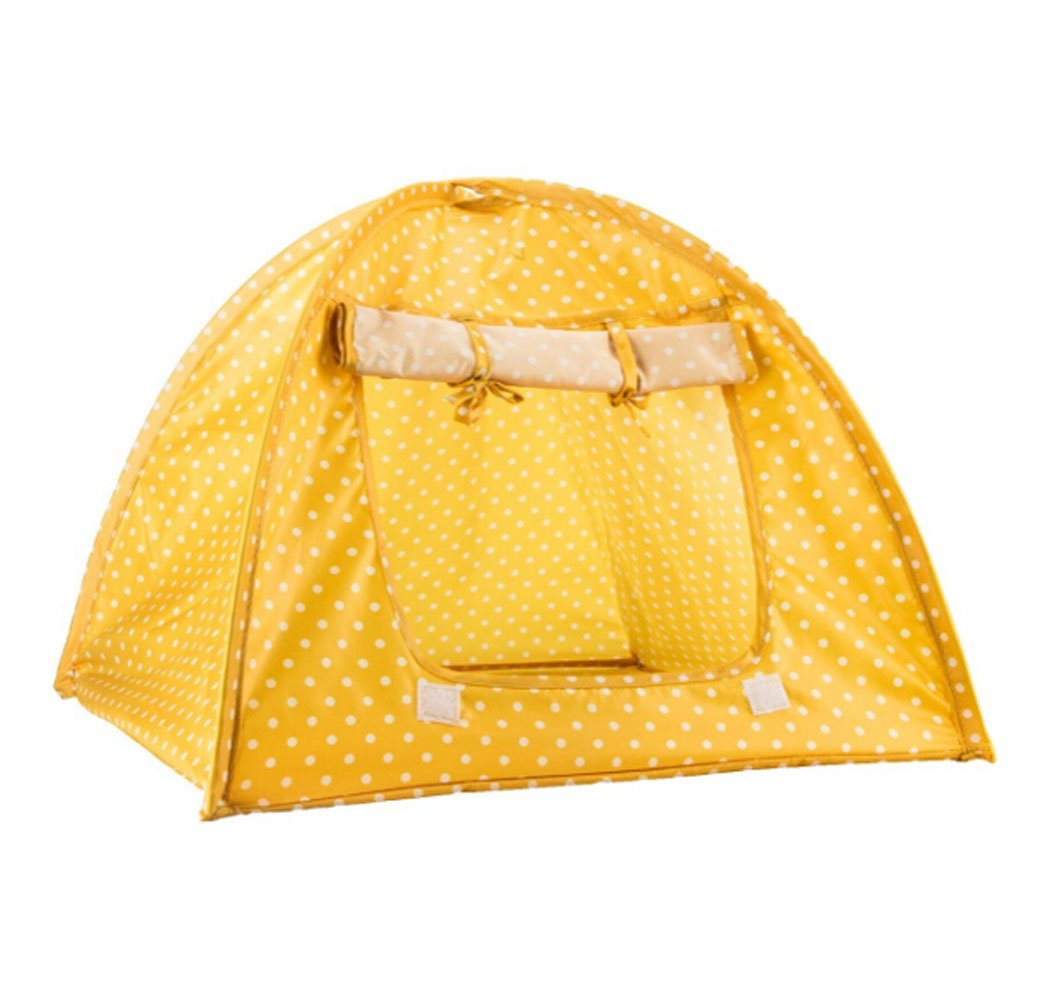 Beika Pet Supplies Washable Durable Cute Dots Style House Tent Dog Cat Small Animals Foldable Light Weight Convenient Carry Tent Mini Camp Bed Yellow