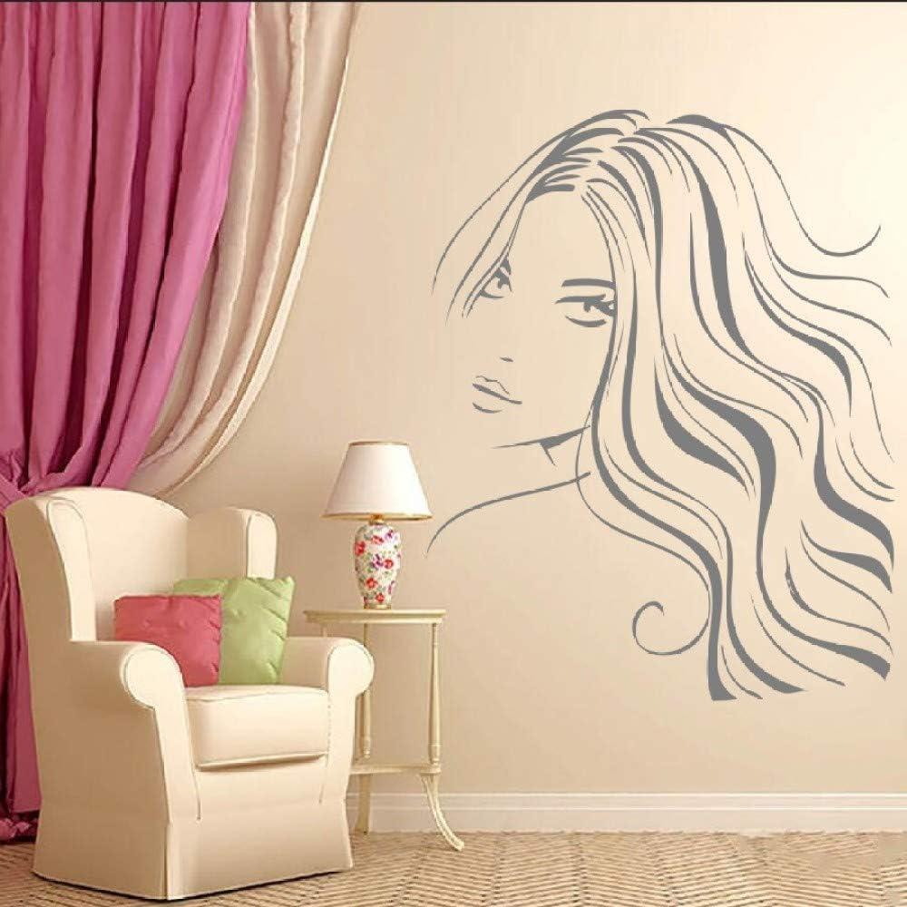 Geiqianjiumai Hermosa Chica peluquería peluquería Pintura de la Pared decoración de la habitación Apliques Cara de Mujer Arte de la Pared Pegatina Gris 42x53cm: Amazon.es: Hogar