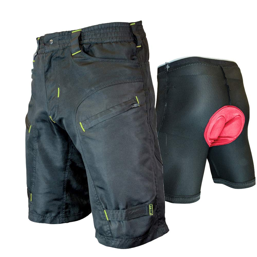 Urban Cycling Apparel The Single Tracker - Mountain Bike MTB Shorts with Secure Pockets, Baggy fit, Dry-Fast (Small 26-28'', Black/Yellow - with Undershorts)