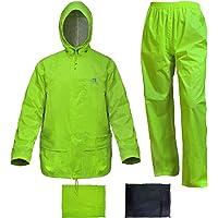 RainRider Traje de Lluvia para Hombres Mujeres Chaqueta de Equipo de Lluvia Amarilla de Alta Visibilidad con Pantalones Portátil de 3 Piezas (2X Grande, Fluorescencia)