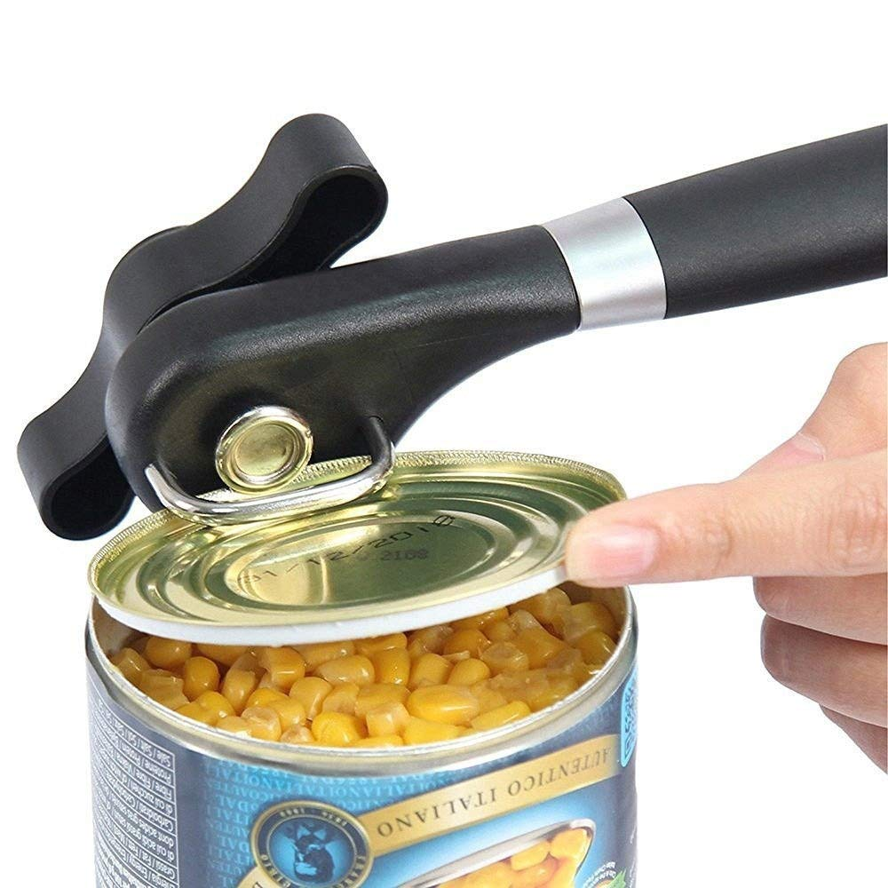 Stainless Steel Can Opener Professional Ergonomic Manual Can Opener Side Cut Manual Can Opener,Upgraded Ergonomic Anti Slip Grips Handle Design, Restaurant Side Cutting Can Jar Opener