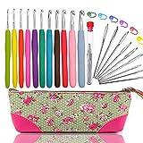 Crochet Hooks Set,Ergonomic Grip,Best Crochet Hook in Case,Great Crochet Starter Kit,Easy Handle Crochet Needles,Large-eye Blunt Needles Steel Yarn Knitting Needles Sewing Needles