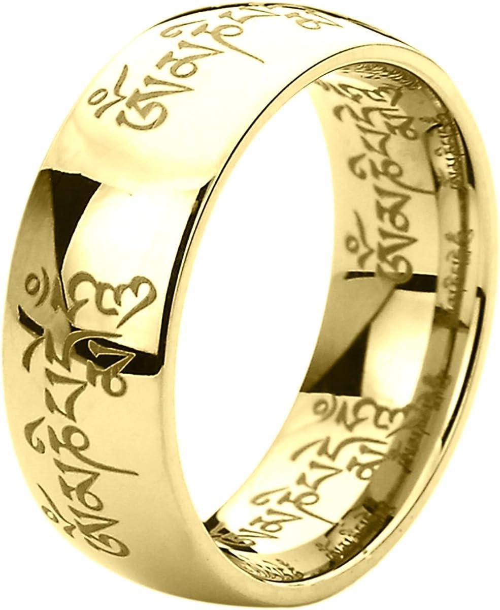 Titanium Wedding Band Ring for Men & Women Tibetan Mantra Om Mani Padme Hum Ring for Men & Woman