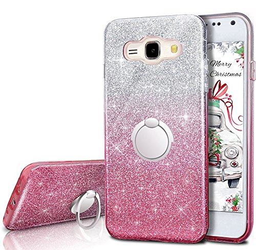Galaxy J1 Case (2016), Galaxy Luna / Express 3 / Amp 2 Glitter Case With 360 Degree Rotating Ring Stand, Soft TPU Outer Cover + Hard PC Inner Shellfor Samsung Galaxy J1 2016 -Pink