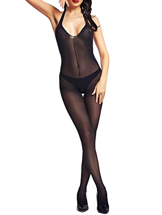 68d41e3f0ad Amazon.com  Beluring Womens Halter Lace Lingerie Bodysuits Crotchless  Bodystocking  Clothing