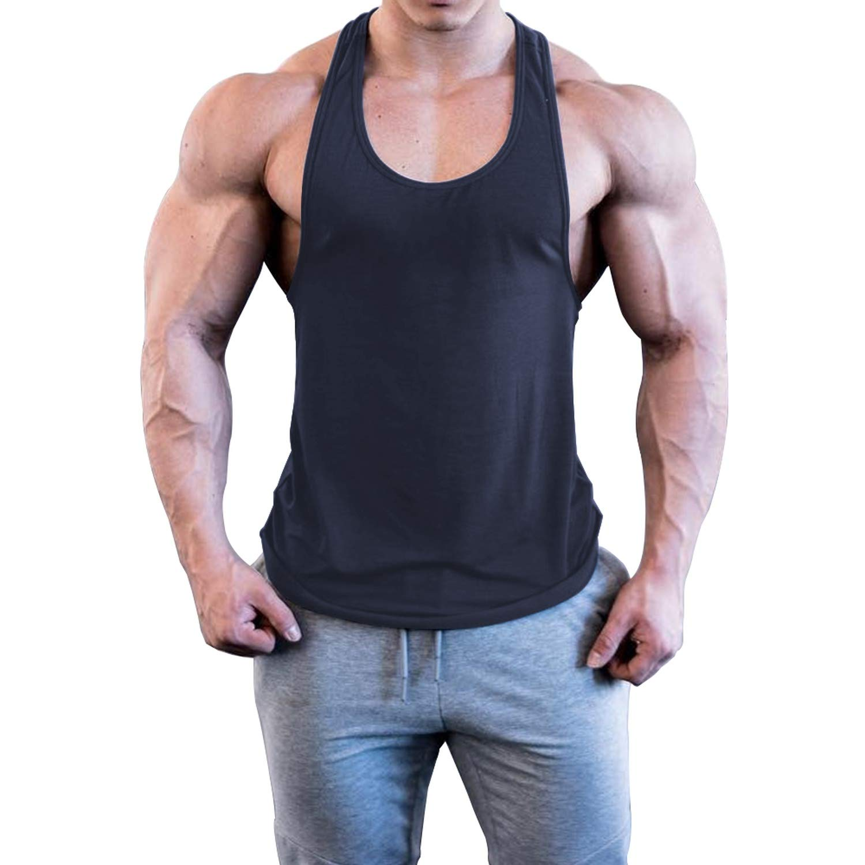 Rays-light-vest Men Solid Color Bodybuilding Stringer Gyms Tank Top Fitness Singlet,Beige,XL