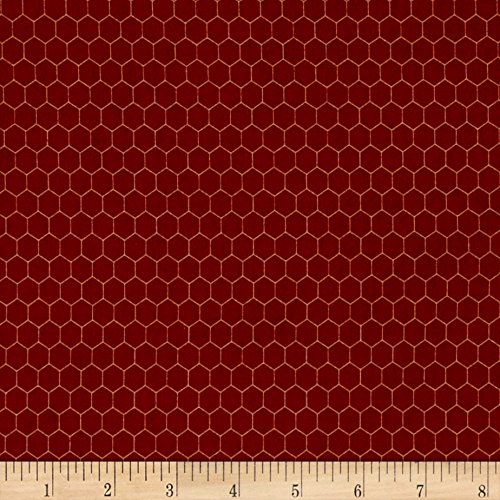 (Fabri-Quilt Rooster Inn Chicken Wire Red Fabric by The Yard,)