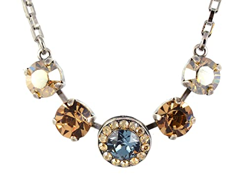 Mariana Moondrops 5 Circle Necklace, Silver Plated with Fawn Crystal, 14 4 5084 216-3