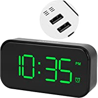 Digital Touch Clock, Support Fast Charge Dual Power Supply LED Digital Clock, Two USB Charging Ports for Home Livingroom…