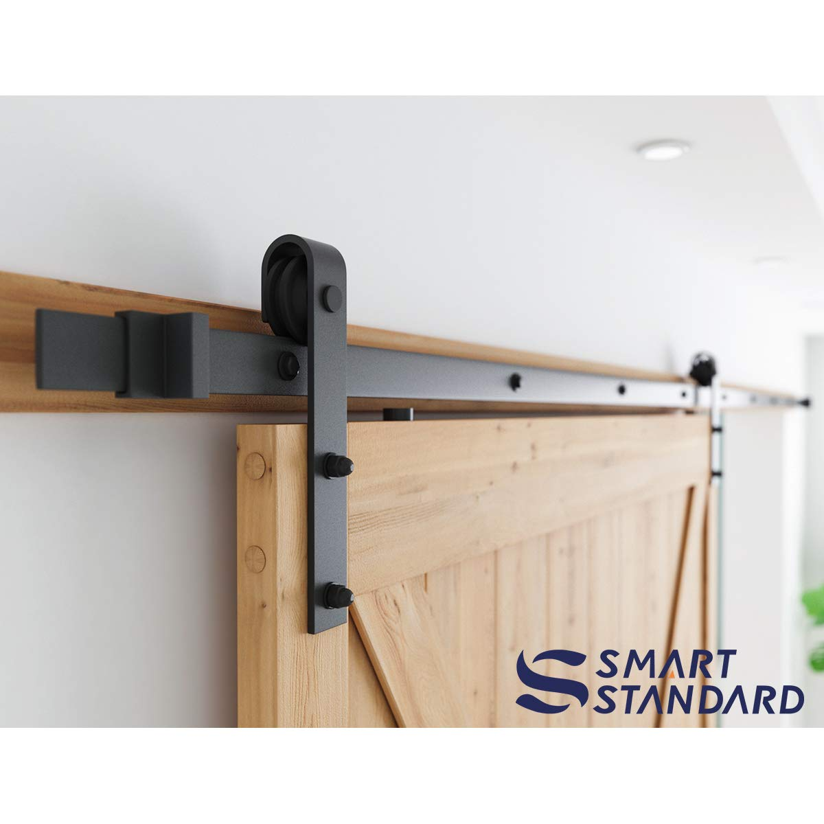 SMARTSTANDARD Sliding Barn Door Hardware Hangers 2pcs Black J Shape Hangers