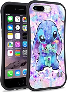DISNEY COLLECTION iPhone 8 Plus Case, iPhone 7 Plus Case, iPhone 6 Plus/6S Plus Case Cartoon Cute Lilo Stitch Pattern Small Waist Design Hard PC Shield Soft TPU Bumper Shockproof Protective Cover