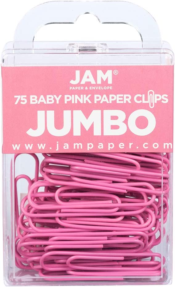 JAM PAPER Colorful Jumbo Paper Clips - Large 2 Inch - Pink Paperclips - 75/Pack