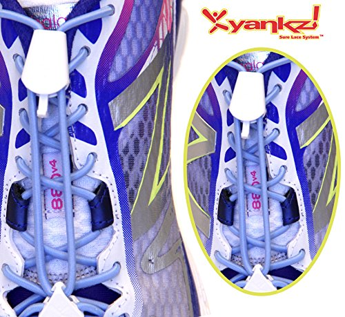 Ibungee Laces - Yankz Surelace Elastic Shoe Laces, 2 point system to lock your laces (No Tie) (Baby Blue Laces with White Locks)