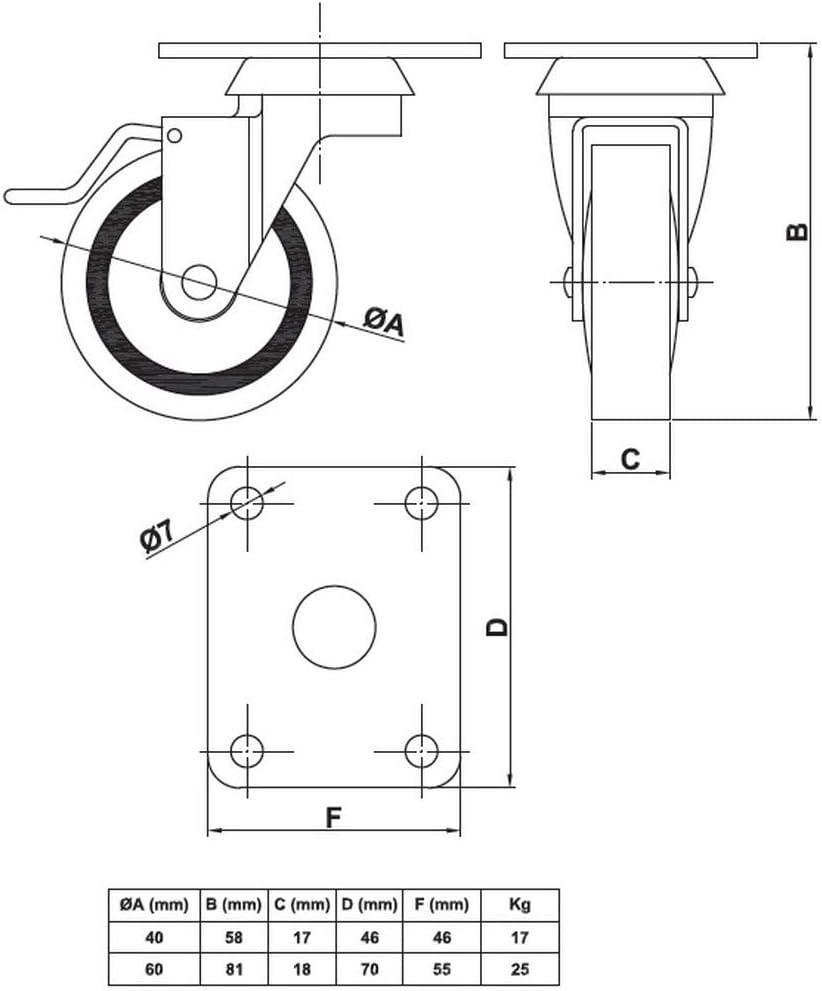 Ruedas para muebles 4 unidades, 60 mm de di/ámetro, goma dura, incluye freno y placa atornillable
