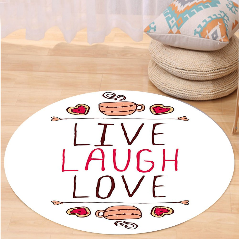 VROSELV Custom carpetLive Laugh Love Decor Valentines Day Theme Typographic Banner Heart Shaped Cookies Tea Cup for Bedroom Living Room Dorm Multicolor Round 79 inches by VROSELV (Image #1)