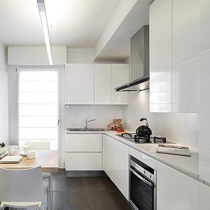 KINLO 0.61 * 15M PVC Pegatina de Mueble Papel Pintado Blanco Autoadhesivo  Pegatinas Impermeables para forrar un Mueble del Cocina y baño 0.61 * ...