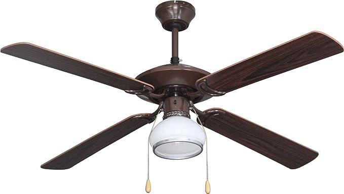 Bastilipo Sitges Ventilador de Techo con Luz E27, 60 W, Nogal, 132 ...