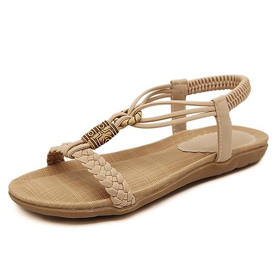 Ruiren Frauen Bohemian Perlen Flachen Sandalen, Sommer Flip-Flops Schuhe für Damen