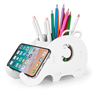 Desk Supplies Organizer, Mokani Cute Elephant Pencil Holder Multifunctional Office Accessories Desk Decoration with Cell Phone Stand Office Supplies Desk Decor Organizer Christmas Gift, White