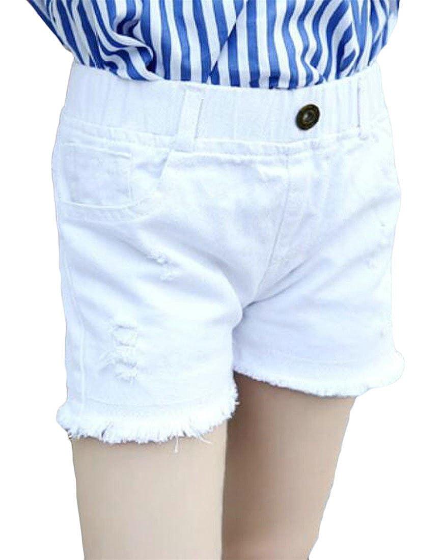 Cromoncent Little Kids Girls Stylish Washed Destructed Frayed Hems Faded Denim Shorts Pink 10//11T