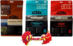 ACANA Dry Dog Food Kibble 3 Flavor Sampler with Rope Toy Bundle, 1 Each: Appalachian Ranch, Heritage Freshwater Fish, Heritage Red Meat (12 Ounces)