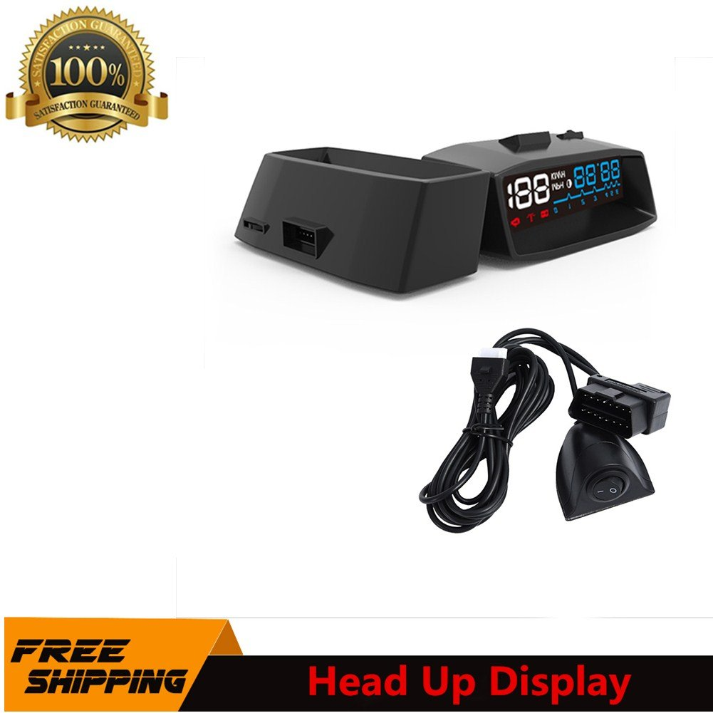 Car HUD Head Up Display with OBD2 II Interface Plug Auto HUD KM/h MPH Overspeed Warning Windshield Projector Alarm System Switch Lines Blue and White LED Light