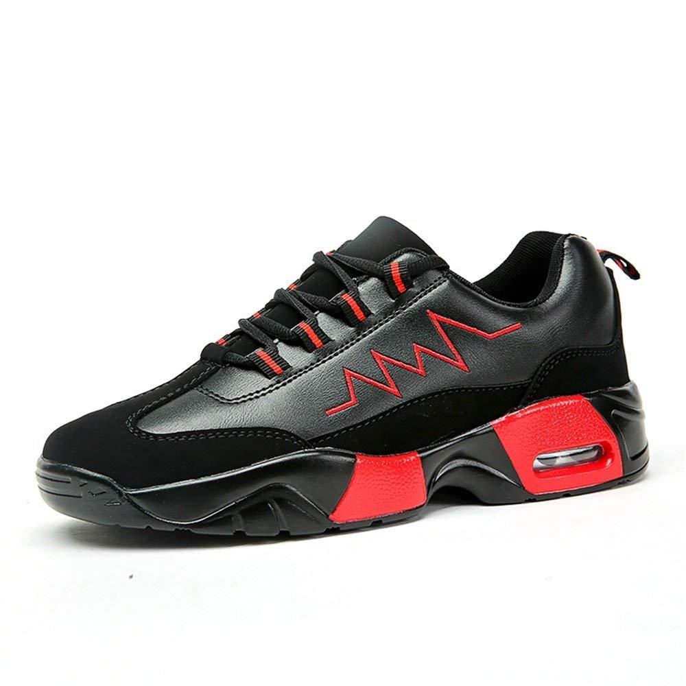 2018 Herren Outdoor Flache Ferse Turnschuhe Lace Up Athletic Casual Schuhe bis zur Größe 47 (Farbe   Schwarz-Weiss, Größe   44 EU) (Farbe   Schwarz Rot, Größe   47 EU)